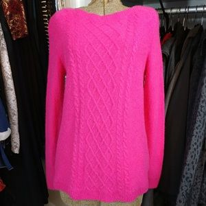 Merino wool nylon cashmere blend Cabled Pullover